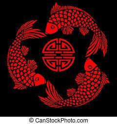 azulejo, diseño, pez, laca