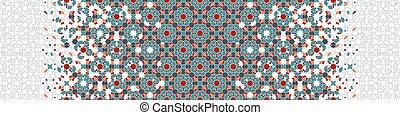 azulejo, seamless, pattern., vector, árabe