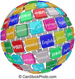 azulejos, aprendizaje, idioma, globo, extranjero, transl, palabras, internacional