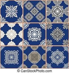 azulejos, piso, colección, ornamento