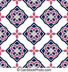Azulejos portugués. Patrones azules y blancos preciosos sin costura.