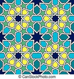 azulejos, resumen, seamless, patrón, diseño, vector, marroquí, geométrico, morisco
