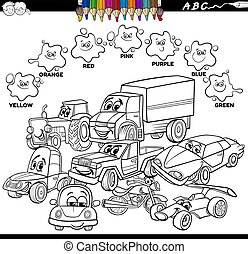 básico, libro, color, colores, caracteres, coches