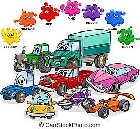 básico, transporte, grupo, colores, caracteres, coches