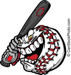 Béisbol con cara de dibujos animados con imagen de murciélago