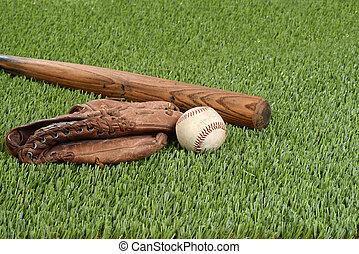 Béisbol con guante y bate