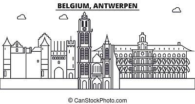 Bélgica, Arquitectura Antwerpen, ilustración en línea de horizonte. Vector lineal Cityscape con puntos de referencia famosos, vistas de la ciudad, iconos de diseño. Landscape wtih derrames editables
