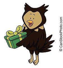 Búho con dibujos animados de regalo