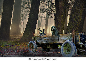 Búho en la carreta. La escena mística de Halloween