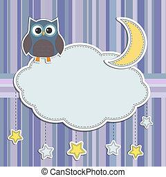 búho, marco, estrellas, luna