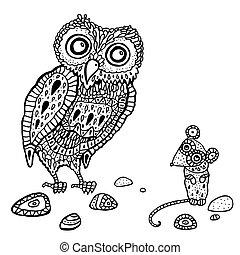 Búho y ratón de decoración. Ilustración de dibujos animados.