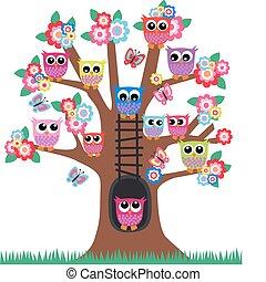 búhos, árbol