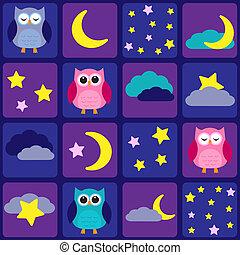 búhos, cielo, noche