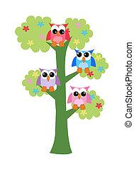 búhos coloridos sentados en un árbol
