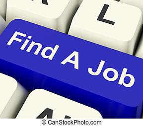 búsqueda, actuación, trabajo, trabajo, llave computadora, en línea, hallazgo, carreras