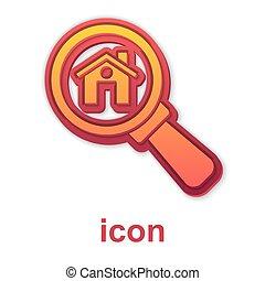 búsqueda, casa, aislado, debajo, aumentar, icono, símbolo, bienes raíces, vector, blanco, fondo., vidrio., oro
