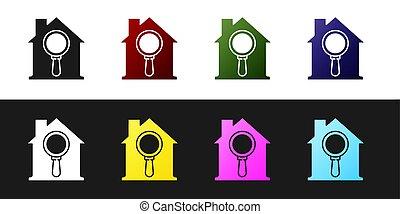búsqueda, casa, aislado, debajo, negro, aumentar, conjunto, vidrio., símbolo, bienes raíces, vector, blanco, fondo., icono