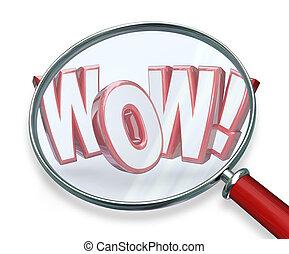búsqueda, palabra, wow, lupa, asombroso, hallazgo, descubrimiento