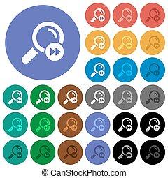 búsqueda, redondo, hallazgo, iconos, coloreado, último, plano, resultado, multi