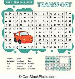 búsqueda, rompecabezas, transporte, juego, niños, tema, palabra, diversión, niños, educación
