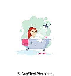 Bañarse. Actividades diarias de las mujeres. Ilustración de vectores