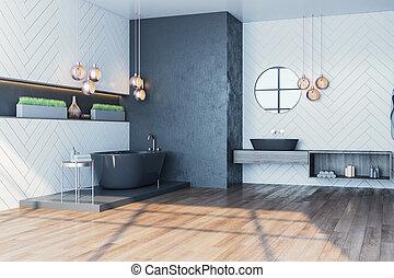 bañera, cuarto de baño, moderno, gris