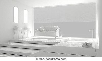 Baño blanco minimalista con gran ventana, diseño clásico de interiores