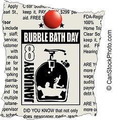 baño, burbuja, periódico, classifieds
