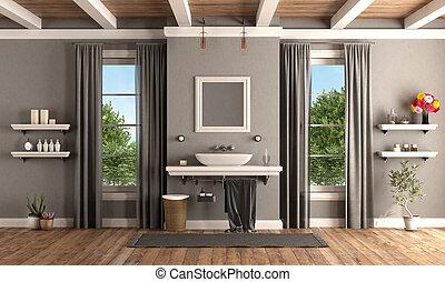 Baño clásico con lavabo en la estantería con estilo clásico