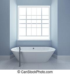 Baño con bañera y ventanas