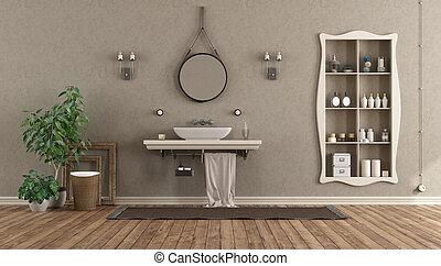 Baño con lavabo en el estante al estilo clásico