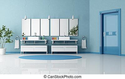 Baño contemporáneo azul