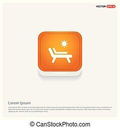 Baño de sol en el longue de la chaise con el botón de la red abstracta del icono naranja