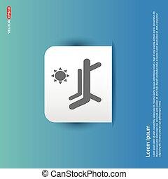 Baño de sol en la chaise longue con icono paraguas - botón de etiqueta azul