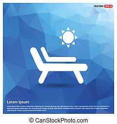 Baño de sol en la chaise longue con icono paraguas