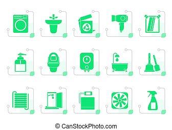 Baño estilizado, objetos de baño e íconos