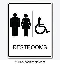 baño, ilustración, señal