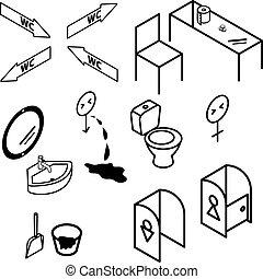 Baño isométrico y interiores de baño