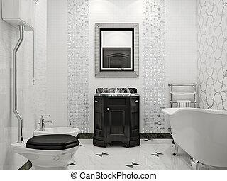 Baño lujoso con estilo clásico