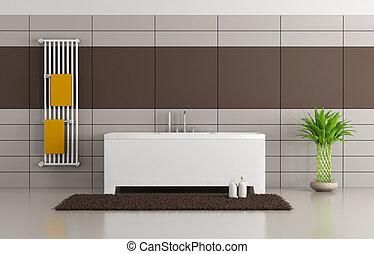 Baño marrón y beige moderno