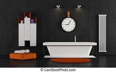Baño minimalista con bañera