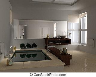 Baño minimalista con bañera grande, diseño de interiores de hotel spa