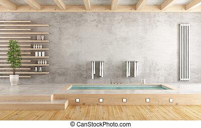 Baño minimalista con bañera hundida