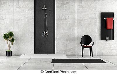 Baño minimalista con ducha
