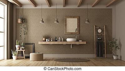 Baño minimalista con lavabo