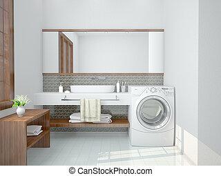 Baño minimalista con una lavadora. Ilustración 3D