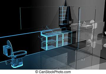 Baño moderno (3D xray azul transparente)