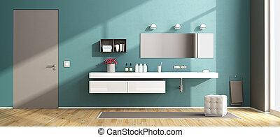 Baño moderno azul