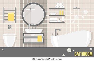 Baño moderno beige interior