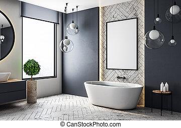 Baño moderno con cartelera